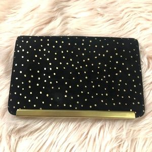 Madewell The Friday Clutch - Black Gold Foil Dot